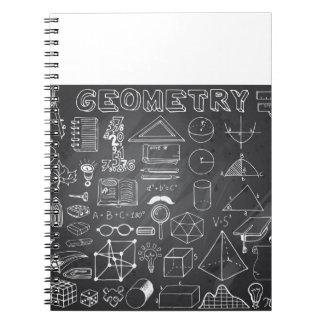 Geometrie-Wissenschafts-Gekritzel in der grauen Notizblock