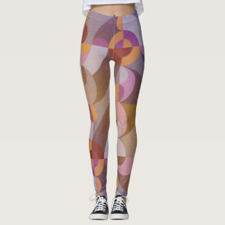 Geometrische abstrakte retro Kreise in den warmen Leggings