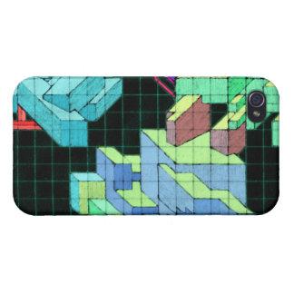 Geometrische Achtzigerjahre Würfel-Kunst iPhone 4 Schutzhülle