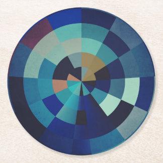 Geometrische Blau-Kreise, Bogen und Dreiecke der Runder Pappuntersetzer