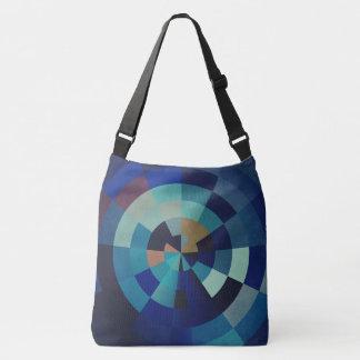 Geometrische Blau-Kreise, Bogen und Dreiecke der Tragetaschen Mit Langen Trägern