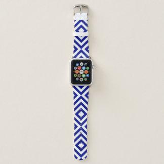 Geometrische blaue und weiße Sparren, Diamanten Apple Watch Armband