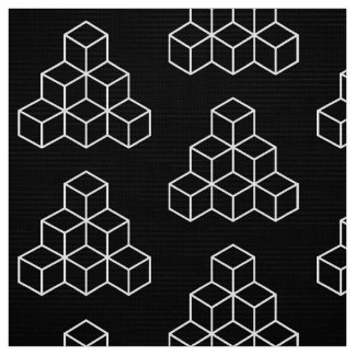 Geometrische Blöcke - Weiß auf Schwarzem Stoff