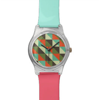 Geometrische Dreieck-Muster - RetroFlat Uhren