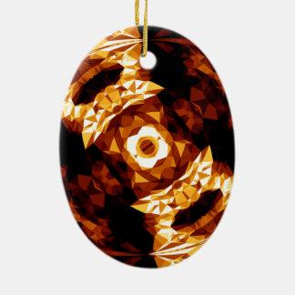 Geometrische Dreieck-orange Brown-schwarzes Keramik Ornament