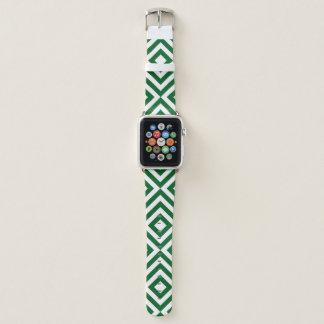 Geometrische grüne und weiße Sparren, Diamanten Apple Watch Armband