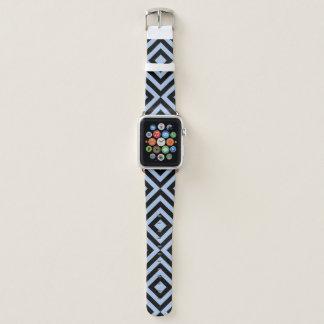Geometrische hellblaue und schwarze Sparren, Apple Watch Armband