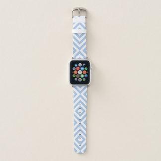 Geometrische hellblaue und weiße Sparren, Apple Watch Armband