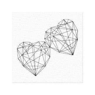 Geometrische Herz-Entwurfs-Leinwand-minimale Kunst Leinwanddruck