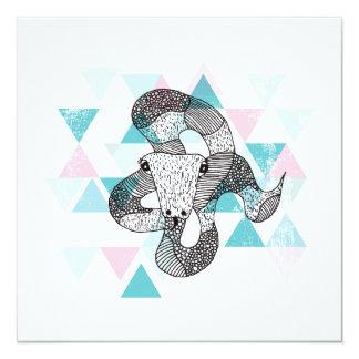 Geometrische Illustrationspostkarte der Schlange Quadratische 13,3 Cm Einladungskarte