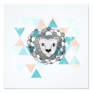 Geometrische Illustrationspostkarte des Tigerlöwes Quadratische 13,3 Cm Einladungskarte