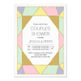 Geometrische Juwelfarbblockhochzeits-Paardusche 12,7 X 17,8 Cm Einladungskarte