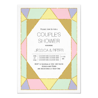 Geometrische Juwelrosaminzenhochzeits-Paardusche 12,7 X 17,8 Cm Einladungskarte