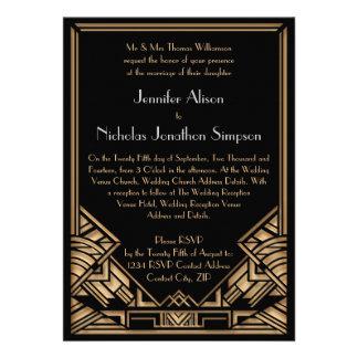Geometrische Kunst-Deko Gatsby Art-Hochzeit lädt Personalisierte Ankündigungskarten