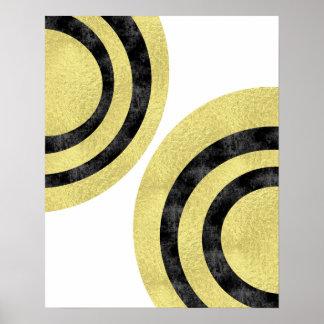 Geometrische Kunst der Kreiskunst Kunst-Goldfolie Poster
