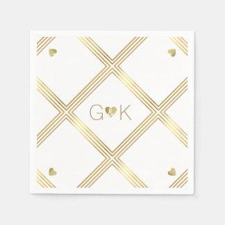 geometrische Linien + Monogramm. Hochzeits-Empfang Papierserviette