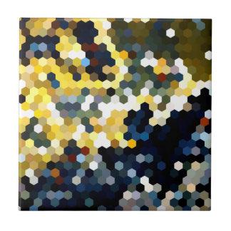 Geometrische Muster | gelbe und blaue Hexagone Fliese