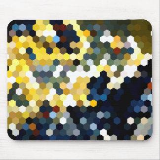 Geometrische Muster | gelbe und blaue Hexagone Mauspad