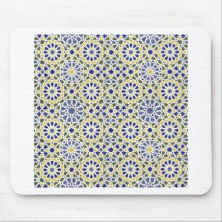 Geometrische Muster in Gelbem und im Blau Mousepad