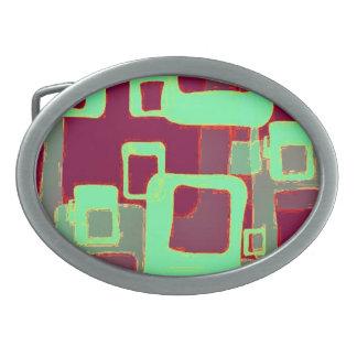 Geometrische Neonquadrate Ovale Gürtelschnalle