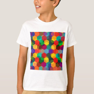 Geometrische Ombre Regenbogen-Hexagone T-Shirt