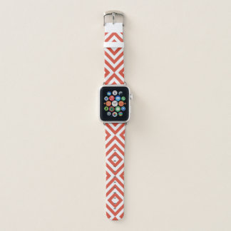 Geometrische orange und weiße Sparren, Diamanten Apple Watch Armband