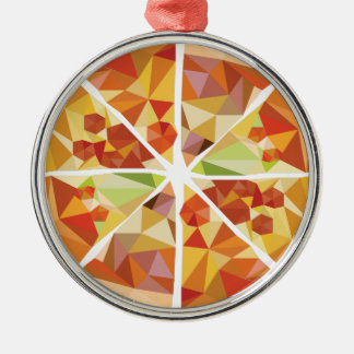 Geometrische Pizza Silbernes Ornament