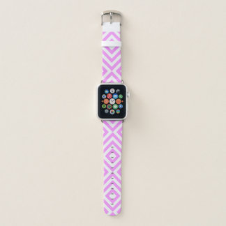 Geometrische rosa und weiße Sparren, Diamanten Apple Watch Armband