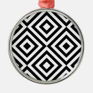 Geometrische Schwarzweiss-Linie Muster Rundes Silberfarbenes Ornament