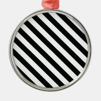 Geometrische Schwarzweiss-Linie Muster Silbernes Ornament