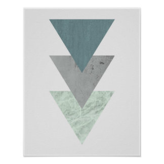 Geometrische skandinavische Küstenfarbdreieckkunst Poster