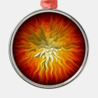 geometrische Sonne 76x76 Silbernes Ornament