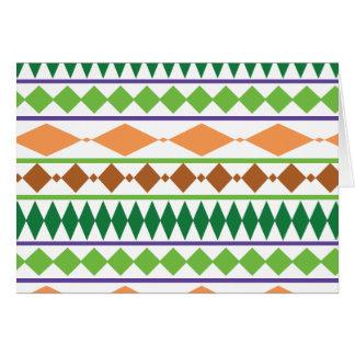 Geometrische Stammes- Muster-Grün-Rost-Koralle Karte