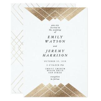 Geometrische weißes GoldGatsby Hochzeits-Einladung 12,7 X 17,8 Cm Einladungskarte