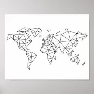 Geometrische Weltkarte Poster