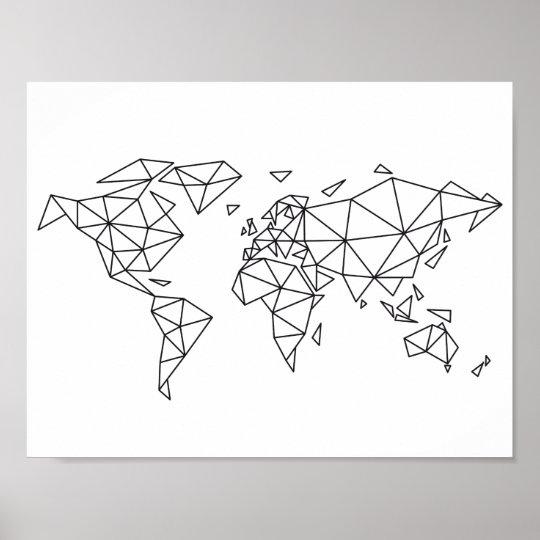 geometrische weltkarte Geometrische Weltkarte Poster | Zazzle geometrische weltkarte