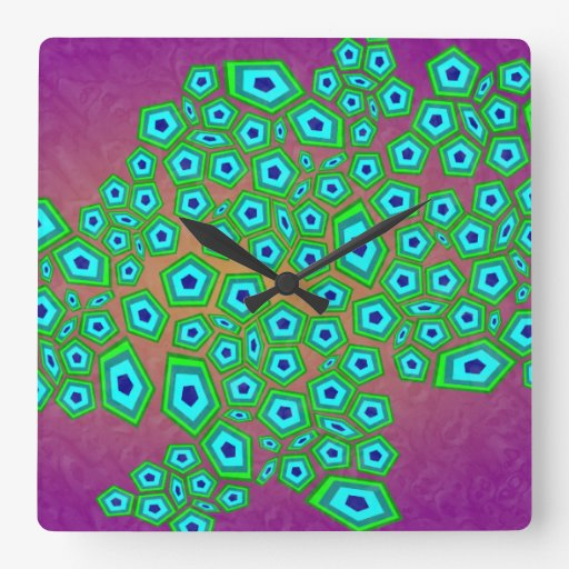 Geometrische zelluläre Muster-moderne Kunst Wanduhr