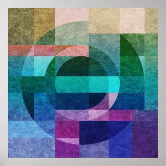 Geometrischer abstrakter bunter Kreis gemasert Poster