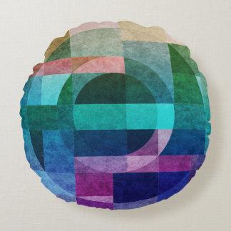 Geometrischer abstrakter bunter Kreis gemasert Rundes Kissen