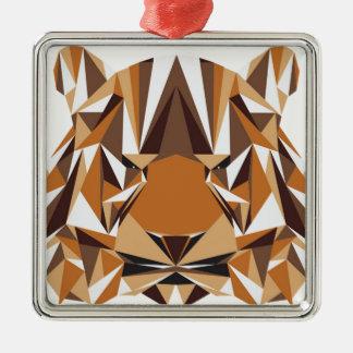 Geometrischer Bär Silbernes Ornament