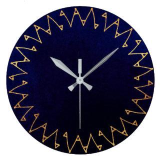 Geometrischer blauer Marine-Samt-Zeitgenosse Große Wanduhr