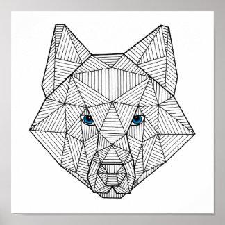 Geometrischer blauer mit Augen Wolf-Druck Poster