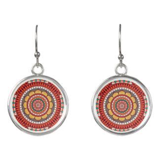 Geometrischer ethnischer Boho böhmischer rote Ohrringe
