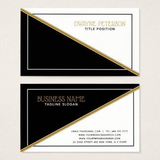 Geometrischer Form-Goldschwarzweiss-streifen Visitenkarte