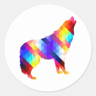 Geometrischer Heulenwolf Runder Aufkleber