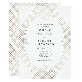 Geometrischer Kunst-Deko weiße Gatsby 12,7 X 17,8 Cm Einladungskarte