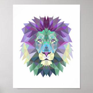 Geometrischer Löwe der nordischen Art Poster