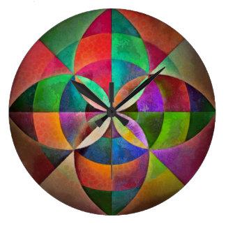 Geometrischer Mandala-Druck-Mehrfarbenentwurf Große Wanduhr