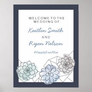 Geometrischer saftiger Hochzeits-Willkommensschild Poster
