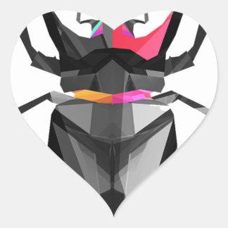Geometrischer Scarabäus Herz-Aufkleber